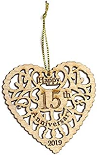 Twisted Anchor Trading Co 15th Anniversary Ornament 2019 - Heart Shaped Happy Anniversary Ornament - Beautiful Laser Cut Wood Detail - Comes in a Pretty Organza Gift Bag so it's Ready to give