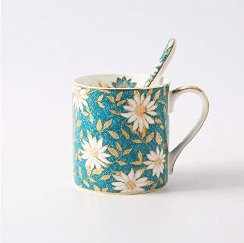 Qnmbdgm Europese keramische schalen van het Britse porseleinen koffiekopje melkkom bloeien landelijke creatieve kunstbeker met lepel
