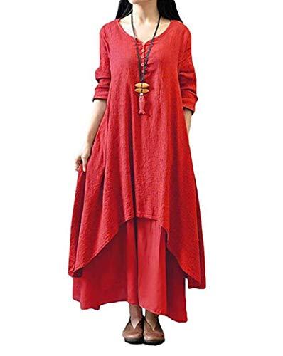 Taigood Womens Vintage Boho Dress Casual Irregular Maxi Dress algodón de Lino Suelta de Manga Larga Capas de Lino Vestido de Moda Vino Rojo l