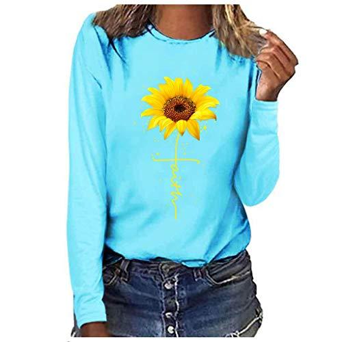 WUAI Womens Long Sleeve Graphic T Shirt Plus Size Sunflower Print Cute Funny Graphic Tees Casual Cotton Tee Tunic Tops(Blue,Large)