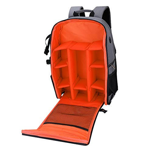 Vbestlife SLR opvouwbare Camera Rugzak Draagbare Camera Fotografie Stoarge Case Tas, Anti-diefstal, Waterdicht, Ademend voor 15.6 inch Computer, Camera, Lens, Statief, Accessoire, Kleding, Tablet, ORANJE