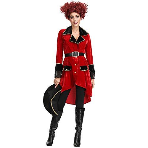 Disfraz de Halloween Disfraz de pirata femenino Disfraz de Navidad sin pelucas y zapatos,M
