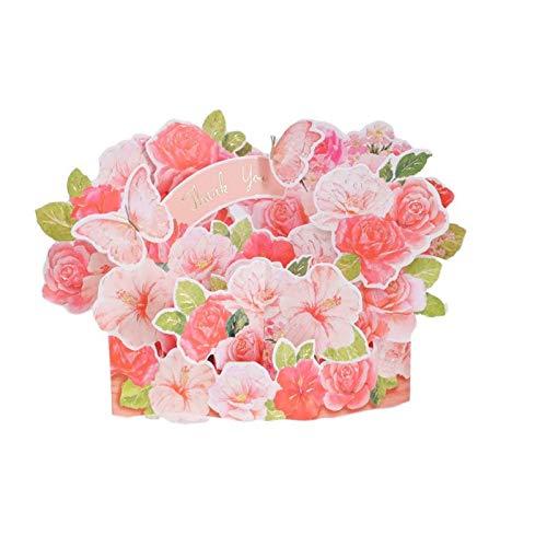Zoo-yilHKA Carte Noel, Merci voeux Papillon Carte Pop-up Bouquet Rose, décoration de Bureau décoration créative Carte de bénédiction.