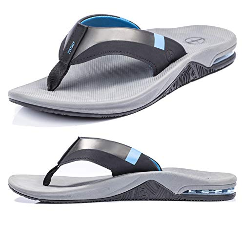 Men's Sport Flip Flops, Arch Support Thong Sandals with Air Cushion for Outdoor Blue Size 10