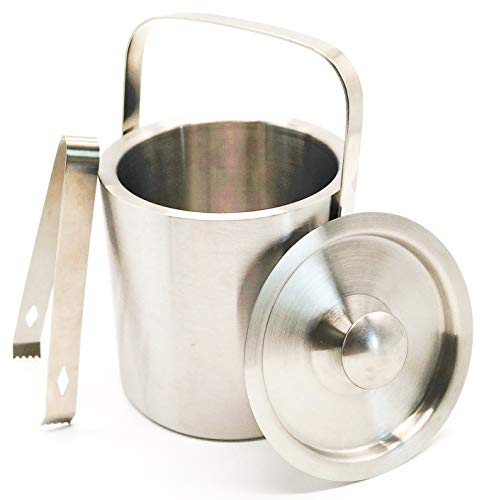 Stainless Steel Ice Bucket with Tongs and Lid; Chiller Set with Double Walled Insulated Design; Great for Cocktail Parties, Barware, Serverware, Holding Ice, Wine, Champagne; 1.3L, Silver