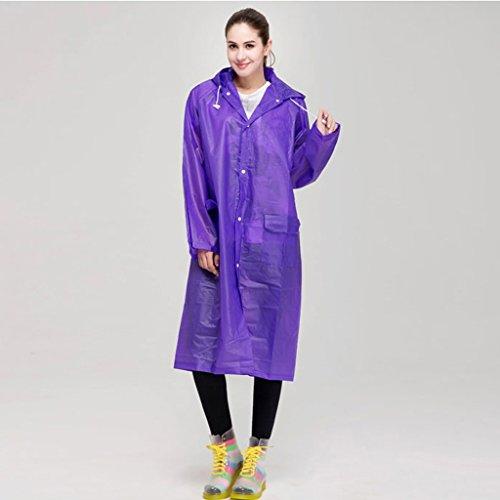 QFF Mode Translucent Regenmantel Umweltschutz Kein Geruch Männer und Frauen Lange Sektion Outdoor Paar Modelle Adult Poncho (Farbe : Lila, größe : L)