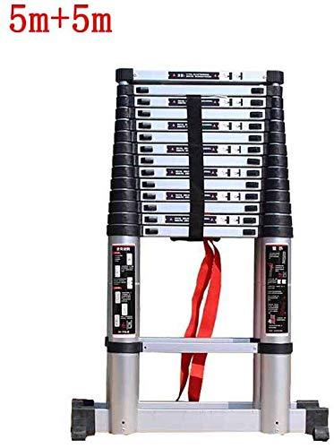 Telescopische ladder binnenhuishuishuishouden bamboe afval plooien dubbelzijdige ladder visgraat-aluminium legering badkamer stoel (grootte: 5m + 5m) lsmaa
