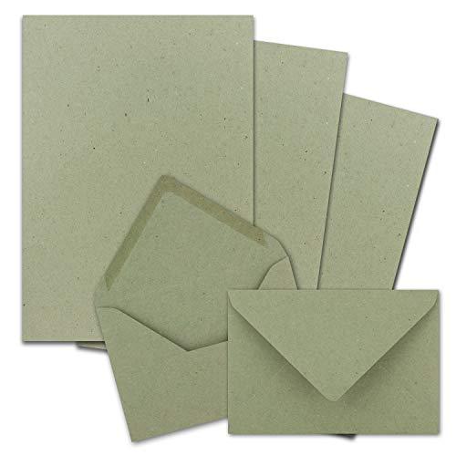 25x Briefpapier-Sets DIN A4 mit C6 Briefumschlägen, Nassklebung - Kraftpapier-Grün - Recycling-Schreibpapier mit Kuverts - FarbenFroh by GUSTAV NEUSER