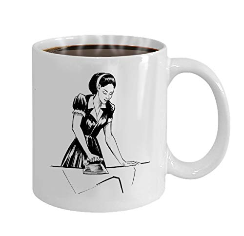 Funny coffee mug For Best Friend On Christmas - White Ceramic 11 Oz ink black white lady ironing vintage iron woman iro