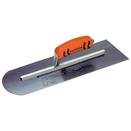 Kraft Tool CF285BPF Blue Steel Round End-Square Back Cement Trowel with ProForm Handle, 16 x 4-Inch