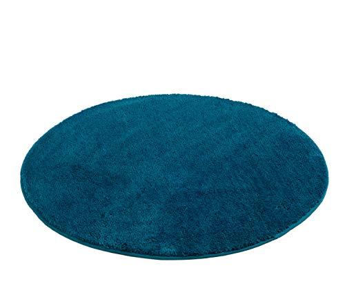 Gözze Tapis de bain en microfibre, Environ 110 cm de diamètre, RIO, Pétrole, 1025-54-110000