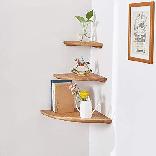 Ensemble d'étagères d'angle, ensemble de 3 (22cm, 25cm, 30cm), organisateur d'étagère de rangement en chanfrein à bord arrondi pour coins de chambre à coucher, salon, salle de bains, cuisine, bureau à