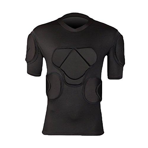 Lalander Protektorenshirt Kurzarm Protektoren Shirt Gepolstert Sportanzug/Schutz Bekleidung für Fußball Basketball Paintball Kampfsport Rugby