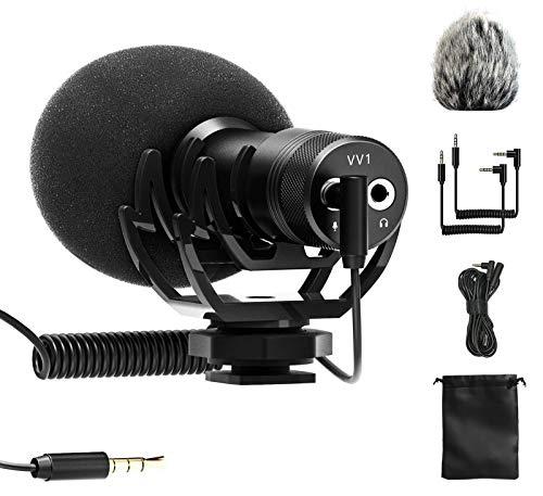 LituFoto - Microfono professionale con cavo di prolunga da 3 m, TRS e TRRS da 3,5 mm, per tutte le fotocamere DSLR, videocamera, smartphone, intervista, videomicro Registrazione YouTube