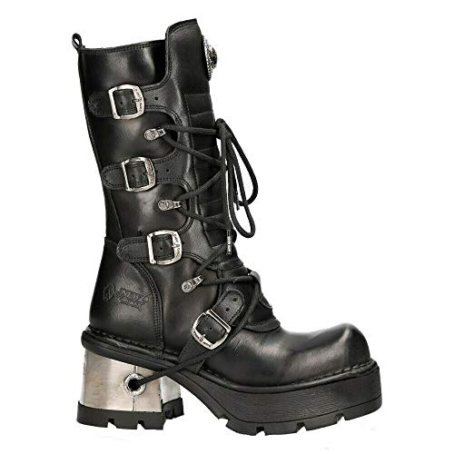 NEW ROCK 373-S33 Botas Negras Para Mujer 100% Cuero Estilo Motorista Gótica Punk Rock 37