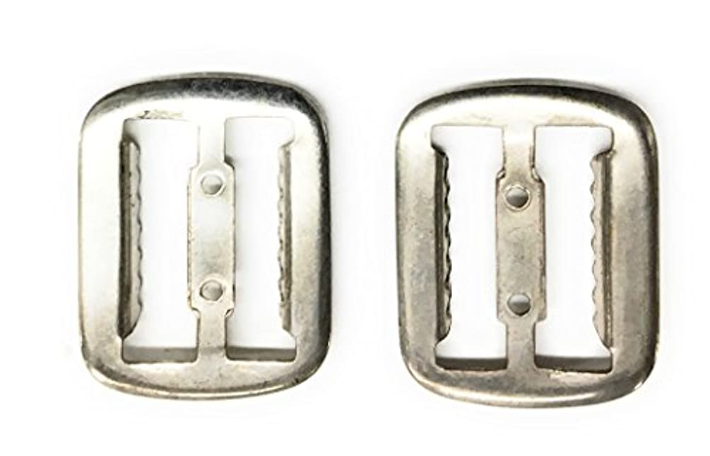 2 Vest Buckle , Slide Fastner , Nickle SILVER Plating- 3/4