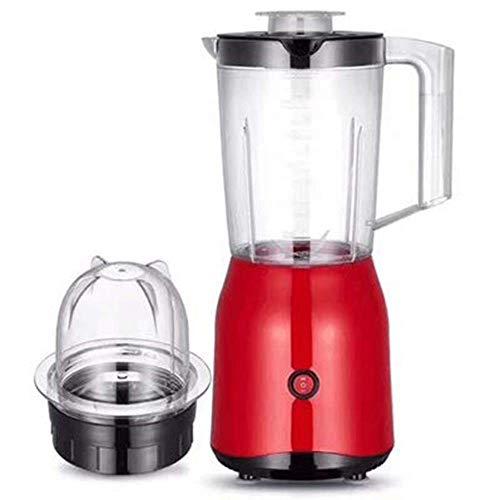 Portátil Licuadora Personal Pequeña Exprimidor 1500 ml de 2 velocidades Multifuncional Máquina Nutrición Exprimidor de fruta Exprimidor Batidora Licuadora temporizador trituradora de hielo (rojo) Bati