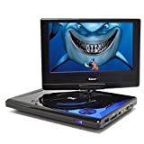OREI 9' Portable All Multi Region Free Zone DVD Player - 4 Hour Battery, USB Input, Car Charger - USB Input Divx Playback