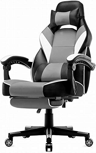FYLYHWY Office Chair Gaming Game Chair in Leatherette, Reclining Racing Chair Ergonomic Swivel Seat High Back (Color : Light Gray)