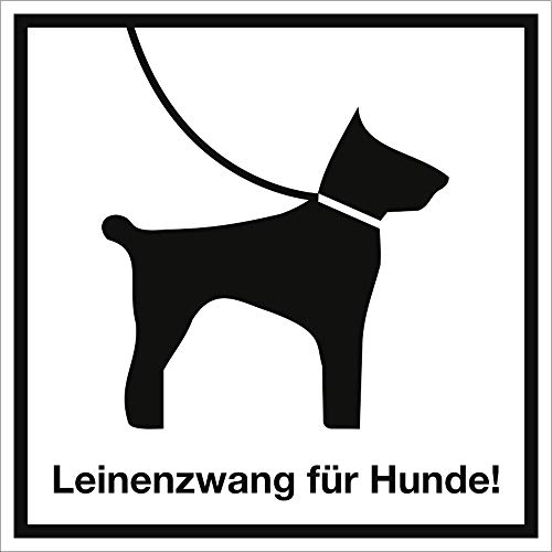Schild Leinenzwang für Hunde! Alu 30 x 30cm (Leinenpflicht) praxisbewährt, wetterfest