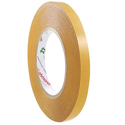Lohmann Duplocoll 268 | Doppelklebeband | Breite wählbar | Extra starke Anfangshaftung | Klebeband für PE, PP, Gummi, PVC etc. | Handreißbar | Wasserbeständig | Vielseitig einsetzbar / 9 mm x 50 m