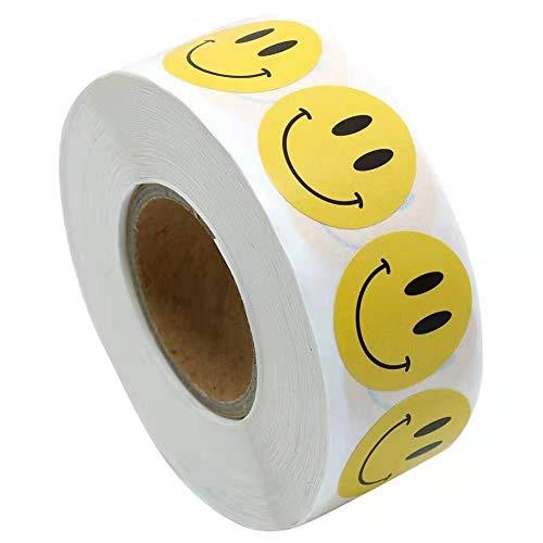 Gelb Glücklich Gesicht Kreis Punkt Aufkleber, Gelbe Smiley Face Stickers Kinder Belohnung Aufkleber Runde Aufkleber, 25 mm 1 Zoll Runde, 500 Etiketten auf einer Rolle