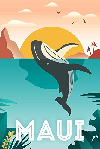 Maui, Hawaii, Whale and Tropical Sunset, Vector 97710 (12x18 Art Print, Wall Decor Travel Poster)