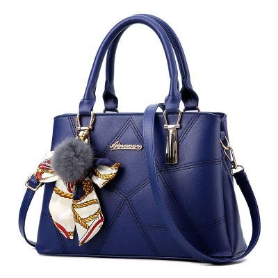Bolsa de Mango Superior de Cuero PU, Bolsa de Asas de Cuero para Mujer, Bolsos para Damas con Accesorios, Bolsos Elegantes, Bolso de Hombro, Bolsas de Cuerpo Cruzado para Damas (Color : Blue)
