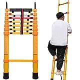 Lsqdwy Escaleras de extensión telescópica de Fibra de Vidrio no conductora con Ganchos, hogar/Trabajo eléctrico, protección para los Dedos y pies Antideslizantes, Amarillo (tamaño: 4,5 m / 14,8 p