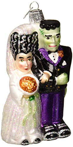 Old World Christmas Halloween Decorations Glass Blown Ornaments for Christmas Tree Frankenstein and Bride