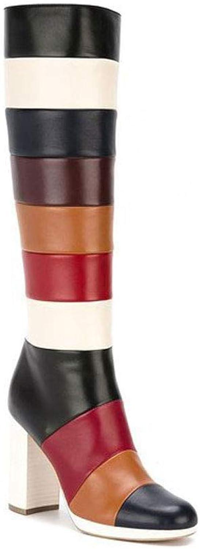 FTTHOU Herbst Und Winter Damen Stiefel Seitlichem Reiverschluss Runden Kopf High Heels Wasserdichte Temperatur PU