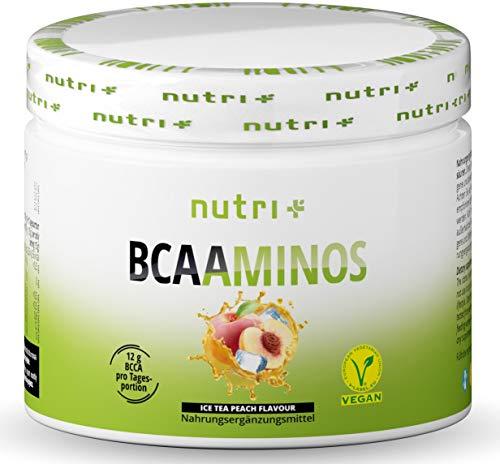 INSTANT BCAA PULVER VEGAN - Hochdosierte Aminosäuren BCAAs - L-Leucin L-Isoleucin L-Valin 2:1:1 Aminosäure - Nutri-Plus - Geschmack Pfirsich-Eistee - Ice-Tea Peach 300g
