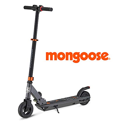 Mongoose React E4 Electric Kids Scooter, Boys & Girls Ages 13+, Max Rider Weight 175lbs, Max Speed of 15.5MPH, Aluminum Handlebars and Frame, Rear Foot Brake, Battery and Charger Included