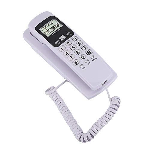Telefono a Parete, Telefono Fisso cablato a Parete Mini cablato con Display ID Chiamata, Sistema DTMF/FSK, retroilluminazione Display LCD, richiamata, per casa/Ufficio/Ufficio.(Bianca)