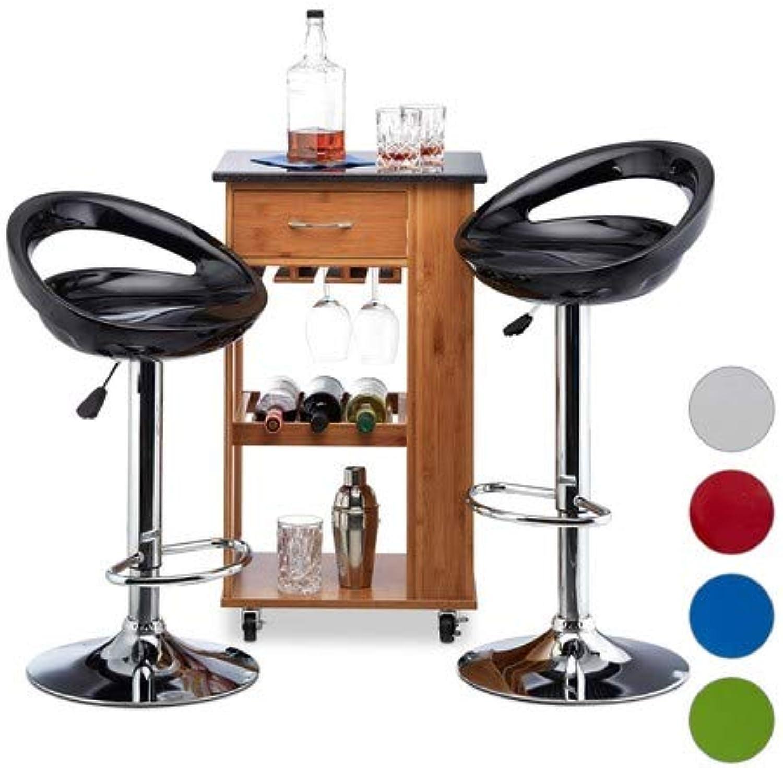 Relaxdays Barhocker 2er Set, hhenverstellbar, drehbar, bis 120 kg, mit Lehne, Barstuhl, HxBxT  99 x 46 x 39 cm, schwarz