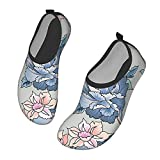 Nicokee Zapatos de agua de flores flores jardín rosa peonía china naturaleza salvaje pétalo playa Aqua Yoga calcetines para hombres mujeres, color, talla 42.5 EU
