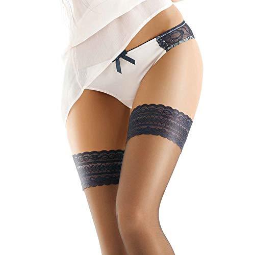 Gatta Michelle 04-8den - klassisch elegante matt-durchsichtige halterloser Strümpfe mit modernen Abschlussb& - Dessous - Größe 3-4 / M-L - Schwarz