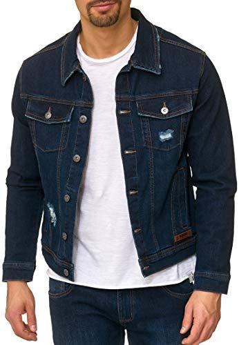 Indicode Herren Bryne Jeansjacke aus 98% Baumwolle | Moderne Jeans Jacke Herrenjacke Markenjacke Destroyed Washed Out Mens Denim Jacket Übergangsjacke Freizeitjacke für Männer Dark Blue L