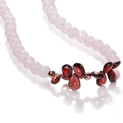 Piedras preciosas naturales de cuarzo rosa y granate Cuentas de 6 mm chapado en oro rosa 925 plata esterlina curación collares de piedras preciosas para mujer collar de granate collar de cuarzo rosa
