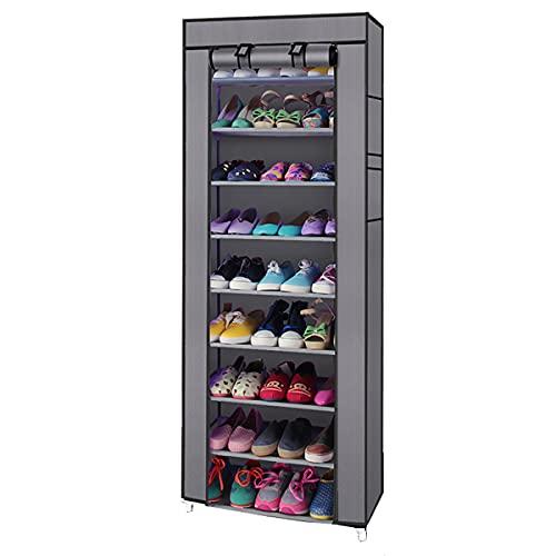 Organizador portátil de 10 capas, 9 celosías de tela no tejida para guardar zapatos, 60 x 30 x 160 cm