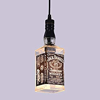 LAKIQ Industrial Pendant Light Single Light Whiskey Jack Daniels Bottle Glass Bar Hanging Ceiling Lighting Indoor Kitchen Island Lights for Dining Table Restaurant Shop