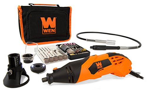 WEN 23114 1.4-Amp High-Powered Variable Speed Rotary Tool with Cutting Guide, LED Collar, 100+ Accessories, Carrying Case and Flex Shaft