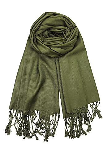 Achillea Large Soft Silky Pashmina Shawl Wrap Scarf in Solid Colors (Olive Green)