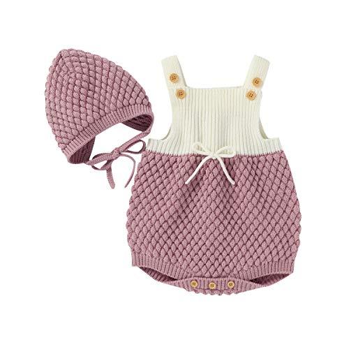 Geagodelia Conjunto de 2 piezas de pelele de punto para bebé + gorro de bebé de invierno Rosa 80 cm