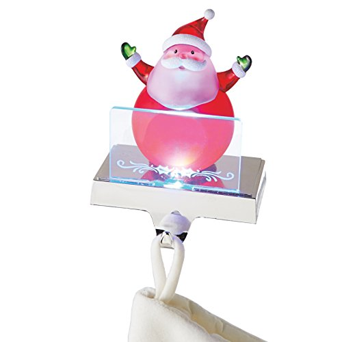Midwest CBK Clear Santa Claus LED Light-up 6 inch Acrylic Christmas Figurine Stocking Holder