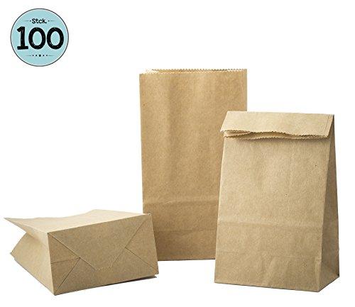 kgpack 100 STK Papiertüten klein 9 x 16 x 5 cm Kinder, Kraftpapiertüten,Bodenbeutel, Obstbeutel, Mitgebsel Kindergeburtstag, Süßigkeiten, Geschenkverpackung, Tüten aus Braun Kraft Geschenkpapier