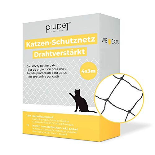 PiuPet® - Rete per Gatti Rinforzata con Filo I per Balcone e finestre, Set di Fissaggio, Rete da Balcone per Gatti, Colore Nero (4 x 3 m)