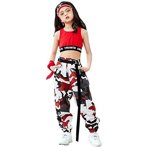 LOLANTA 2 Piezas Niñas Hip Hop Street Dance Solo Ropa Set Crop Tank Top+Camuflaje Jogger Pantalones, Rojo, 140