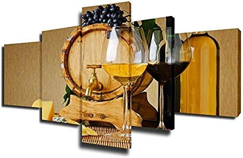 CVBGF Impresiones sobre Lienzo 5 Piezas Enmarcado Arte,Barril de Vino de Madera y Queso Amarillo Paisaje Modernos Baratos hogar Oficina Salon Cuadros Decoracion - 80X150CM