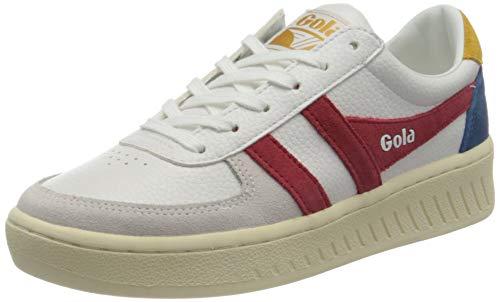 Gola Damen Grandslam Trident Sneaker, White/Deep Red/Marine Blue, 38 EU
